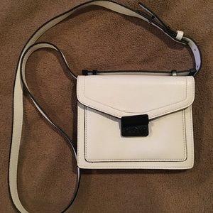 White and black crossbody purse
